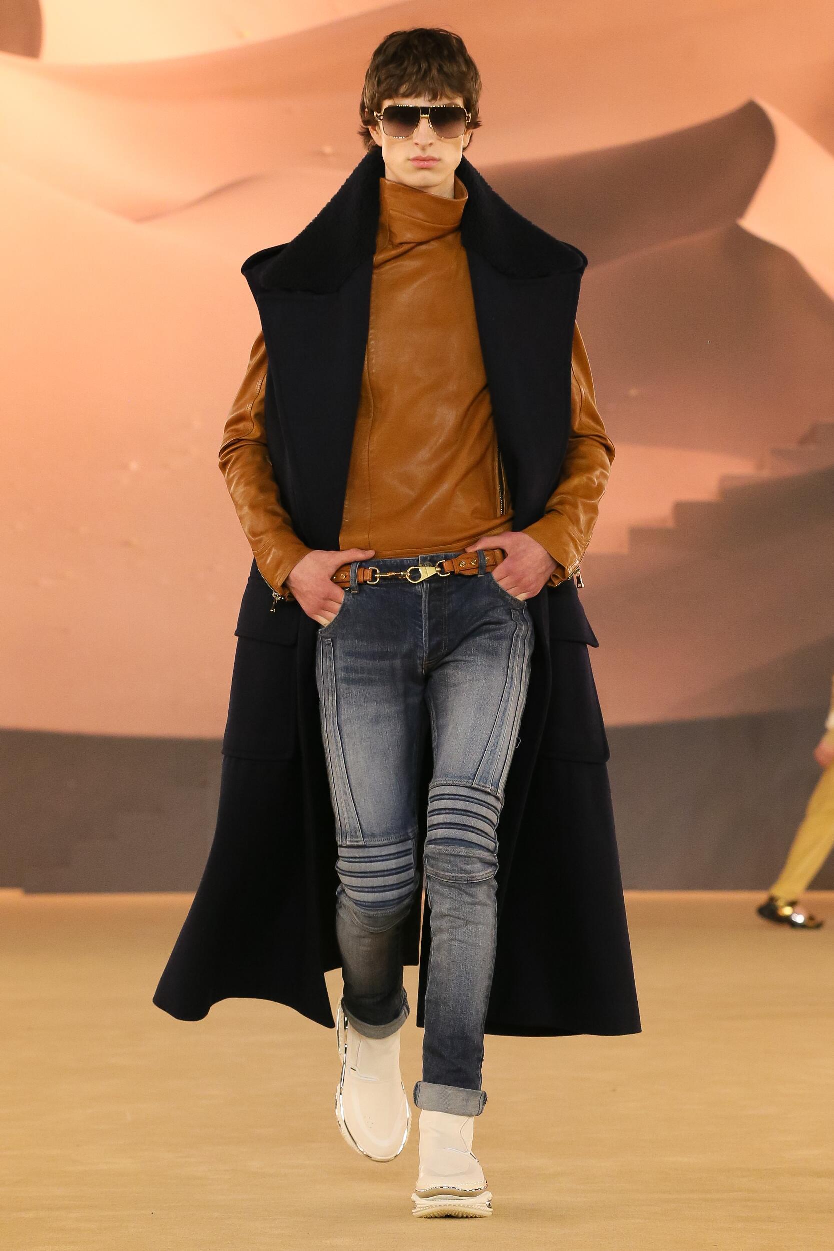 Fashion Show Man Model Balmain Catwalk