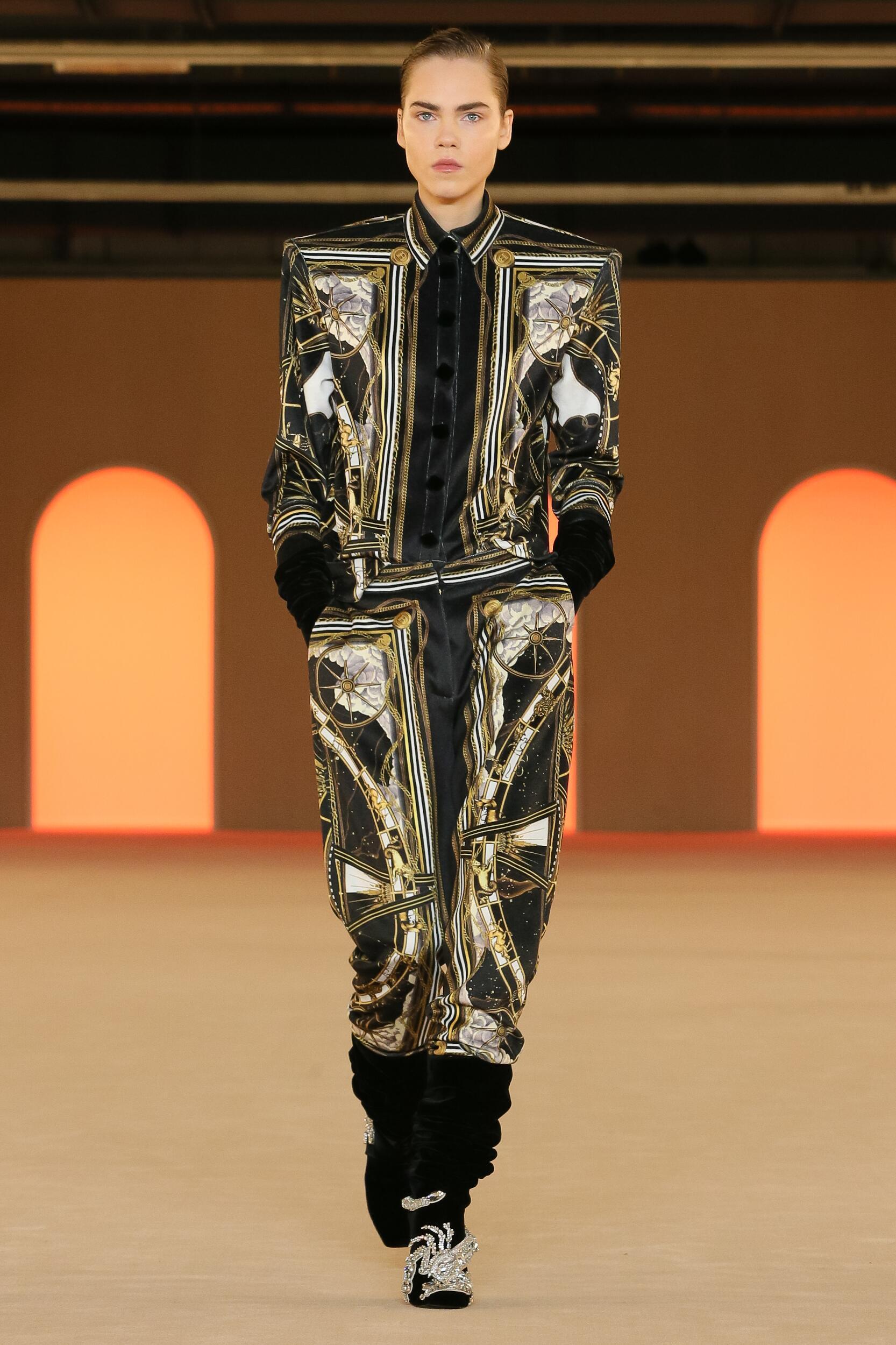 Fashion Show Woman Model Balmain Catwalk
