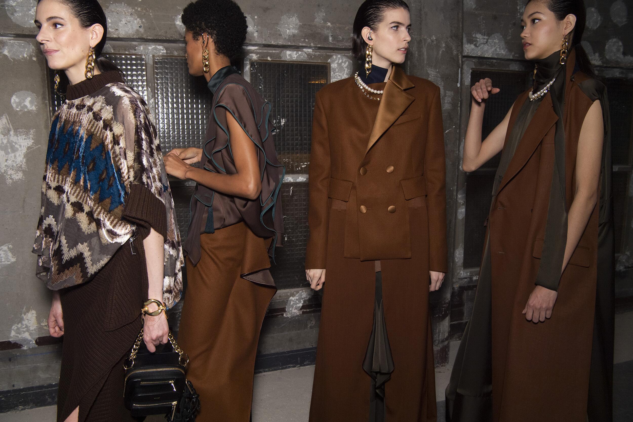 Models Backstage Sacai Fashion Show 2020